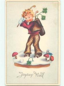 foreign Old Golfing Postcard EUROPEAN CHILD PLAYS GOLF AT CHRISTMAS TIME AC2388