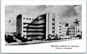 Vintage Glendale California RPPC Photo Postcard MEMORIAL HOSPITAL 1964 Cancel