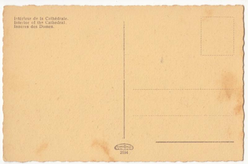 Italia, Italy, Milano, Interno del Duomo, Interior of the Cathedral, Postcard