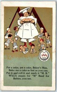 1909 Advertising Postcard MINNEAPOLIS KNITTING WORKS Pat-a-Cake Baker's Man