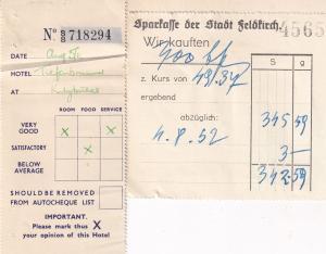 Sparkasse der Stadt Feldkirch Austria 1950s Travel Receipt Ephemera