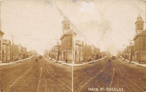 Chesley Ontario~Dirt Main St~Courthouse? Homes~Stereoview Postcard~RPPC c1910