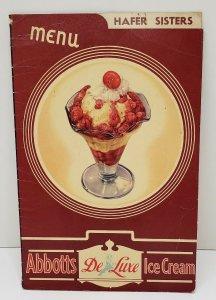ANTIQUE Pennsylvania ABBOTTS Ice Cream Menu HAFER SISTERS Fountain 10c Sundaes!