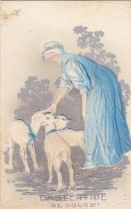 Easter Beautiful Woman and Lamb