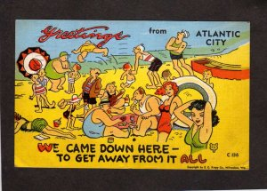 NJ Greetings From Atlantic City Comic Card Linen Postcard E C Kropp Co PC