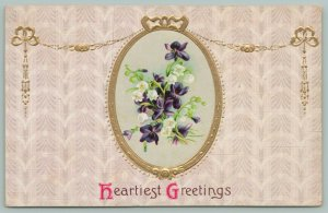 Lily Of The Valley~Purple Flowers In Oval Locket~Gold Leaf Embossed Chain~Border
