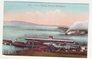 P1107  linen card unused birds eye view of harbor everett washington