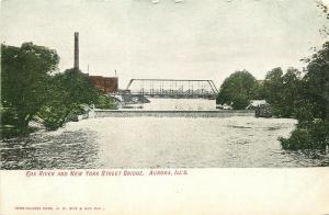 IL, Aurora, Illinois, Fox River, New York Street Bridge,Hand Colored