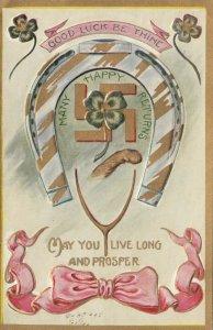 HAPPY RETURNS , 1909 ; Horseshoe, 4 leaf clover & Swastika