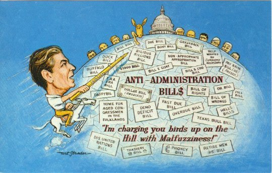 Artist Signed Postcard, Political Satire Ronald Reagan Anti Administration Bill