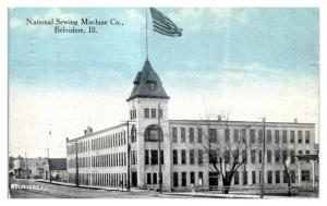 1914 National Sewing Machine Co. Belvidere, IL Postcard *5L1