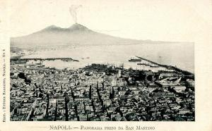 Italy -  Naples and Mt Vesuvio Viewed from San Martino