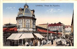 Portugal Old Vintage Antique Post Card Praca da Figueira Lisboa Unused