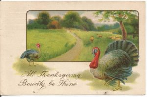 Turkey and Hen in Country Meadow Scene Sheep Grazing in Background Vintage