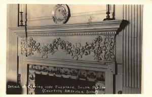Portsmouth NH~Wentworth Gardner House~Closeup Parlor Fireplace Carving~1939 RPPC