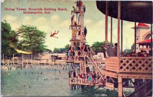 Riverside Bathing Beach Diving Tower Indianapolis Indiana - platform high dive