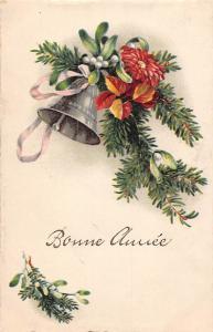 New Year Bonne Annee bell mistletoe flowers fir branches 1928