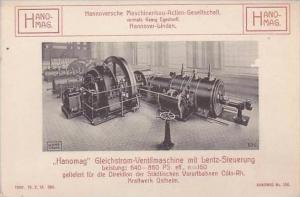 Germany Hannover Hannoversche Maschinenbau Gleichstrom Ventilmaschine mit Len...