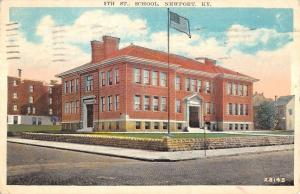 Newport Kentucky 9th Street School Street View Antique Postcard K12452
