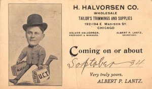 Chicago Illinois Halvorsen Tailor Salesman Ad Vintage Postcard JJ658718