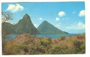 Partial Scene, Pitons, St. Lucia, West Indies, PU-1973