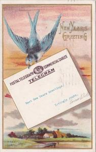 New Years Greeting Postal Telegraph TelegramDove Delivering Letter 1910