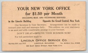 New York City~Lincoln Office Service Company~Ad for Available Office~1930