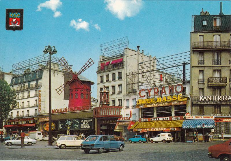 FRANCE PARIE MOULIN ROUGE DANCE HALL, CARS, CAFE RESTAURANT, SHOPS, TABAC STORE