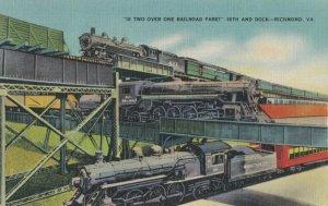 RICHMOND, Virginia, 30-40s; Railroad Trains , 2 over 1