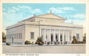 Oklahoma OK Postcard MUSKOGEE c1920 NEW MASONIC TEMPLE Building