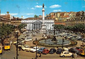 Portugal Old Vintage Antique Post Card Praca de D Pedro IV Lisboa 1968