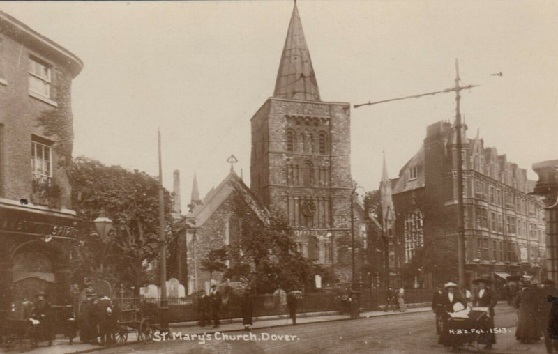 RP: DOVER , Kent , England , 1900-10s ; Street View , St Mary's Church