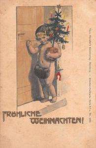 Christmas Greetings Baby with Tree German Greetings Antique Postcard J77606