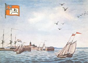 Postcard British Packet Boat from Harwich arriving at Helvetsluys in 1794 V49