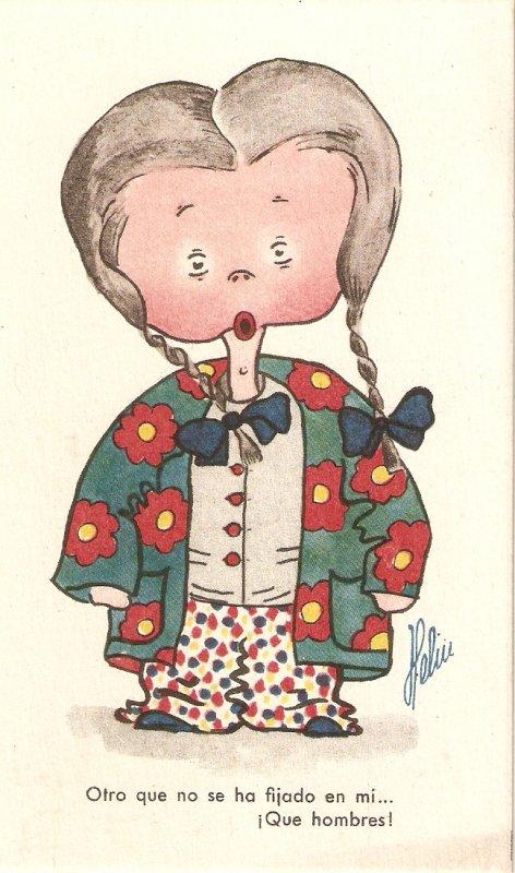 Comic girl in clown dressesc Humorous Spanish postard 1950s