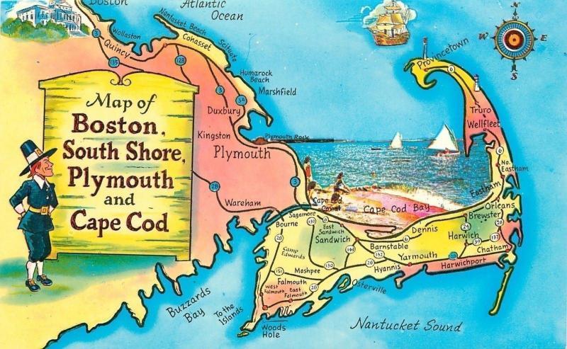 Massachusetts Map Of Boston South Shore Plymouth Cape Cod Beach