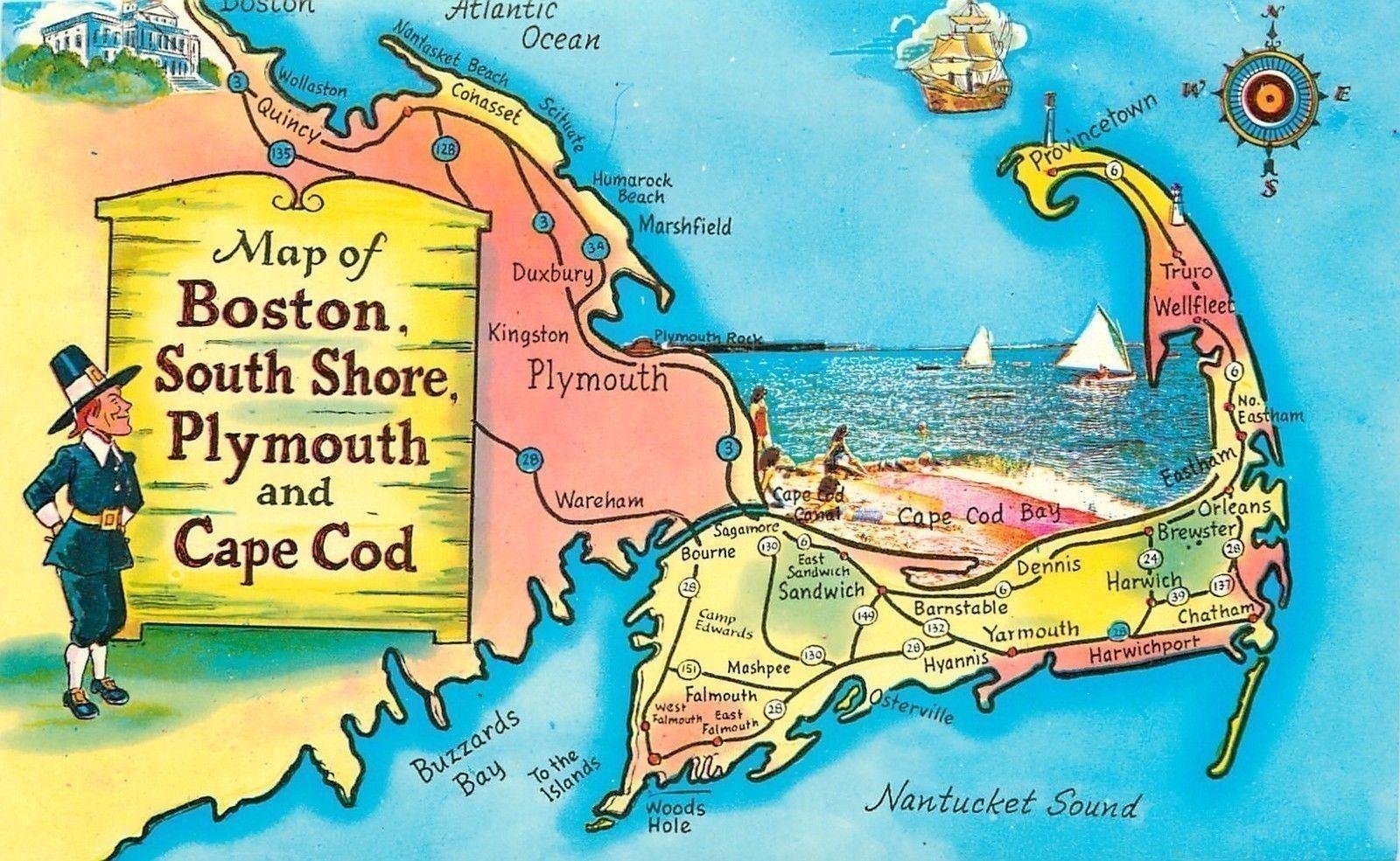 Massachusetts~Map Of Boston South Shore Plymouth~Cape Cod~Beach ...