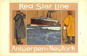 Red Star Line Antwerpen - New York Ocean Ship Artistic Poster Postcard