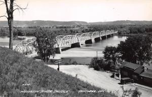 Boscobel Wisconsin~Parker Through Truss Bridge~Gas Station~Replaced~1940s RPPC