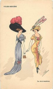 Early parisian fashion old pictorial card artist signed Folies-Bergere
