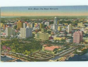 Unused Linen AERIAL VIEW OF TOWN Miami Florida FL n3617