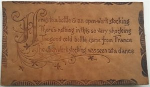 Leather Postcard Poetry - Here's to a Bottle & an Open-Work Stocking 1905 L15