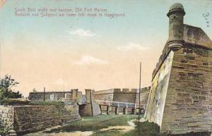 South End angle and bastion, Old fort Marion, Redoubt and Sallyport, moat, St...