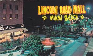 MIAMI BEACH, Florida; Lincoln Road Mall, Fountain, Beck Shoes, PU-1964