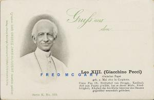 1900 Vatican City Postcard: Leo XIII, Collection Das Grosse Jahrhundert Series
