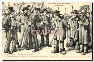 Old Postcard Our good peasants Distraction Think us Mr. Prefect (peasants)