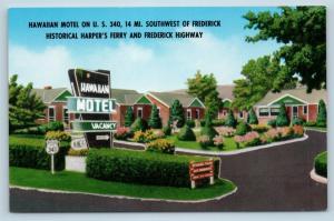 Postcard MD Knoxville Brunswick Hawaiian Motel Old US 340 Vintage G25