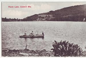 P901 old card fishing boat and people perch lake catskill mts new york