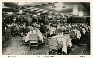 Cunard Lines - RMS Queen Mary. **RPPC**  Cabin Class, Restaurant