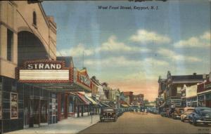 Keyport NJ West Front St. Strand Movie Theatre Linen Postcard